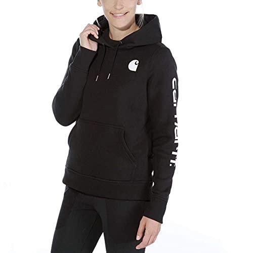 Carhartt Clarksburg Sleeve Logo Hooded Sweatshirt Sudadera con Capucha, negro, M para Mujer