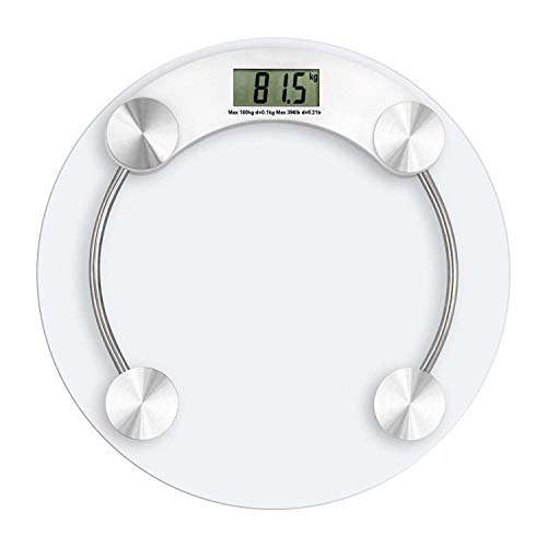 TOQON Digital Glass Weighing Machine Round Personal weighing scale for home use Weight Machine (Transparent)