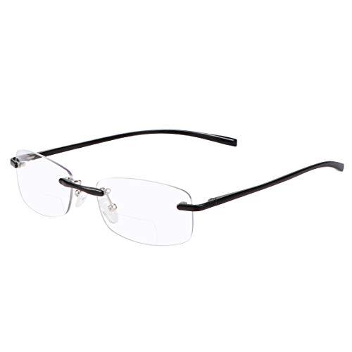 Bifocales Gafas de Lectura Sin Montura para Hombres y Mujeres Unisex Lejos Cerca de Aumento Gafas Presbiópicas Bloqueo de luz azul Presbicia Clara Comodas Lectores sin marco con bisagra de resorte