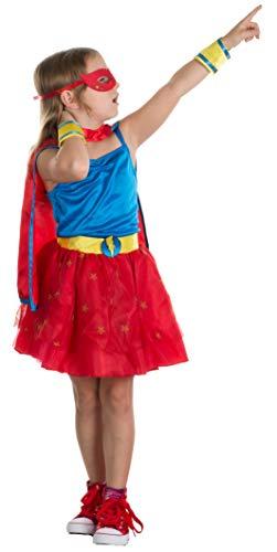 Brandsseller Mädchen Kostüm Superheldin Verkleidung Karneval Party Fasching S (4-6 Jahre)