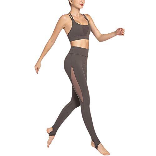 Sport Bh Bustier 1 Set Naadloze Mesh Broek Yoga Set Dubbele Riem Gewatteerde Sportbeha Hoge Taille Gym Legging Vrouwen Fitness Yogapakken Sportkleding