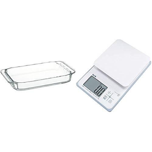 iwaki(イワキ) 耐熱ガラス オーブントースター皿 ベーシックシリーズ 24×14.5×3.5cm 700ml KBC3850 + タニタ キッチンスケール はかり 料理 防水 デジタル 2kg 0.1g単位 KW-220 WH 洗えるキッチンスケール