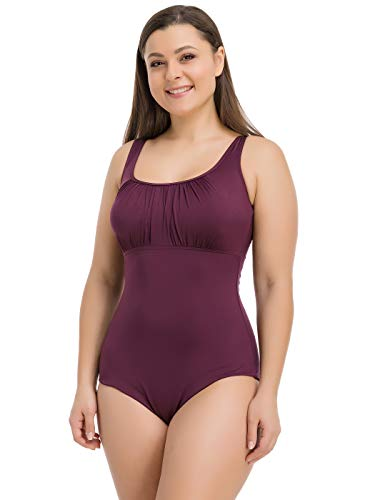 Levitex Ruched Plus Size One Piece Swimsuit for Women with Tummy Control (Purple, 42 (L))