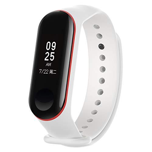 KOMI Correa de reloj compatible con Xiaomi Mi Band 4/Mi Band 3, silicona reemplazo pulsera deportiva (blanco/rojo)