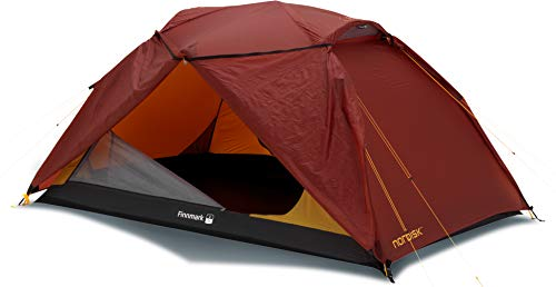 Nordisk - Finnmark 2 SI vielseitiges Zelt, windresistent, wasserdicht, Kuppelkonstruktion mit Doppeleingang, reißfester Nylon Rip Stop mit Silikon Beschichtung, 2-Personenzelt, Rot/Burnt Red