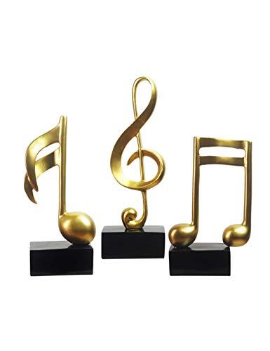 Amoy-Art 3 Stück Figuren Musik Deko Note Skulptur Handgefertigte Dekoration Premium Geschenk Souvenir Geschenkbox Sichere Farbe für Kinder Statue Polyresin Gold 19cmH