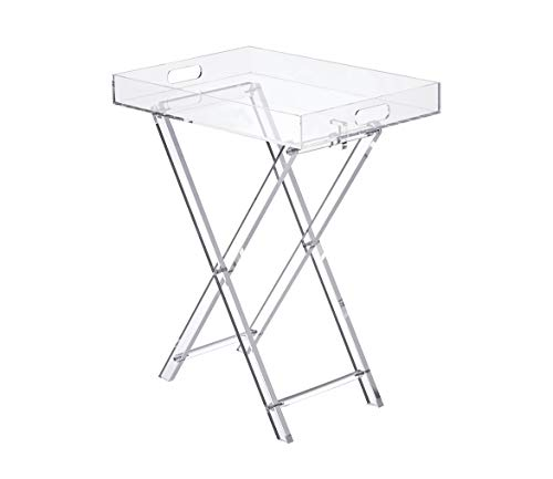 Likenow Furniture Acrylic Tray Table,Foldable,Clear,Modern,19x13 inch,23 inch High