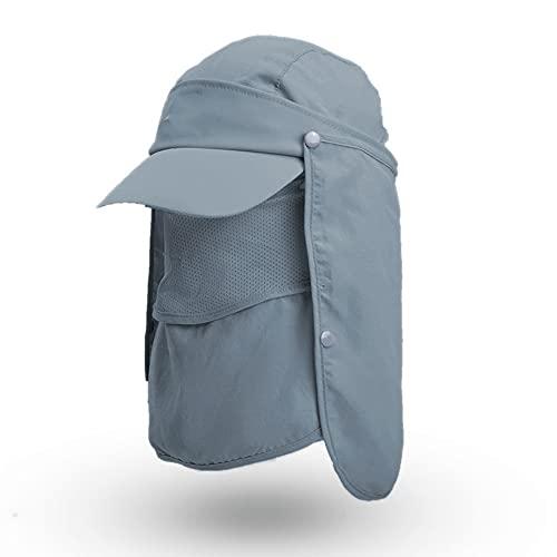 Sombrero para el sol de ala ancha de verano, Sombrero de pesca Gorra de béisbol con solapa para el cuello la cara Secado rápido Transpirable Protección al aire libre Malla de cola de caballo,Bronce