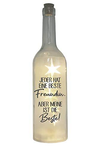 WB wohn trends LED-Flasche mit Motiv, Jeder hat eine Beste Freundin, grau, 29cm, Flaschen-Licht Lampe mit Text Spruch