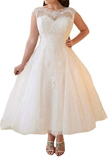 Hochzeitskleider Damen Brautkleid Brautmoden Tüll Spitze Knöchellang A Linie Standesamt Brautkleider Prinzessin