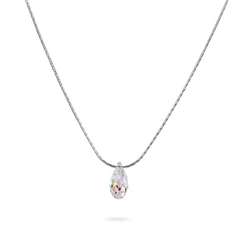 Swarovski Crystal Teardrop Sterling Silver Necklace Minimalist Stunning Jewelry 16 inches+extension Birthstone Birthday Gift for Women Girls