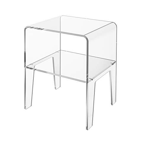 LuceSolida - 'Manta' Tavolino Comodino Design in plexiglass Trasparente Vetro Acrilico