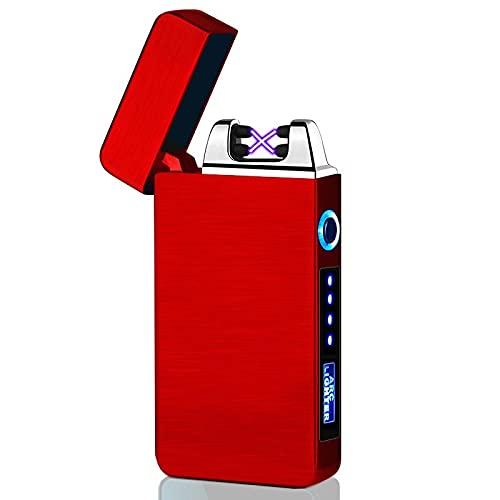 bågtändare, elektrisk tändare, dubbel båge elektronisk cigarettändare vindtät flamlös s USB-laddningsbar plasmatändare 613 röd