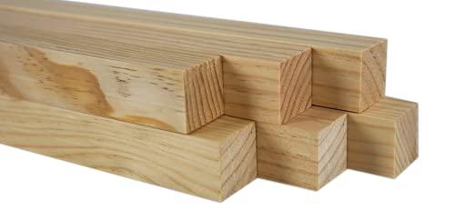 Chely Intermarket   41D2C   Palos de madera 3x3x90cm (Pack de 6 Unds) ideal para usos de manualidades, plantas, bricolajes, artesanias y carpinterías.(3x3*6-2,75)