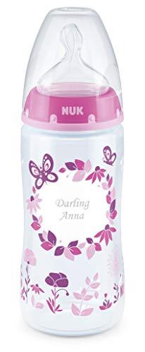 NUK First Choice Babyflasche mit persönlicher Gravur, kiefergerechter Silikon-Trinksauger, 300ml, 6-18 Monate, rosa
