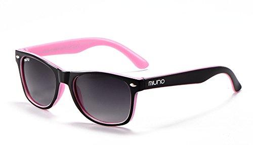 Miuno Miuno® Kinder Sonnenbrille Polarisiert Polarized Wayfare für Jungen und Mädchen Etui 6833a (Schwarz/Rosa)
