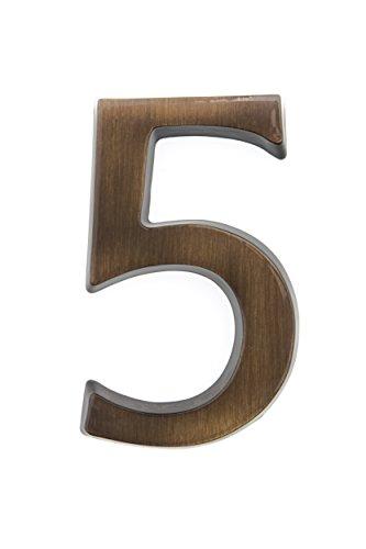 HUBER número de casa 5 de latón 10 cm I números de casa para puerta I número de casa 3D I placas de número de casa en latón antiguo noble diseño 3D