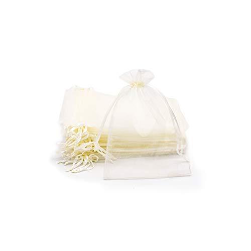 VARIOUS Bolsas de Organza 13X18cm,Bolsita Organza para Regalos-Crema