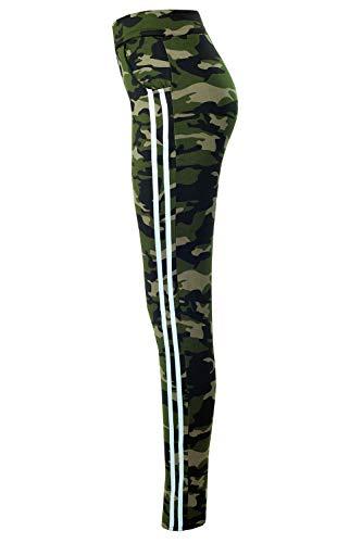 Bongual Damen Thermo Leggings Winter Fell-Leggings Army Military Hose Tarn CamouflageTreggings 36-42 (40/42 (L/XL), Grün/Weiß)