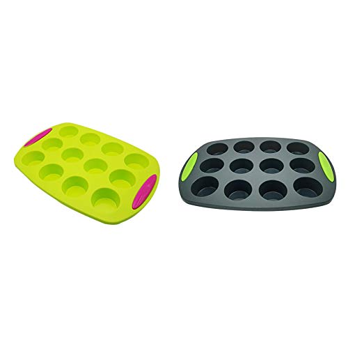 Mungowu 2 Pcs 12 Holes Silicone Cake for Muffin Cup Baking Dish Cupcake Molds Bread Bakeware for Baking Mould, Green & Gray