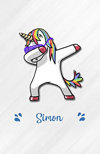 Simon A5 Lined Notebook 110 Pages: Funny Blank Journal For Personalized Dabbing Unicorn Family First Name Middle Last. Unique Student Teacher Scrapbook/ Composition Great For Home School Writing