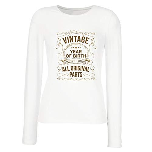 lepni.me Camisetas de Manga Larga para Mujer Año Personalizado Todas Las Piezas Originales Regalo de cumpleaños Vintage (Small Blanco Multicolor)