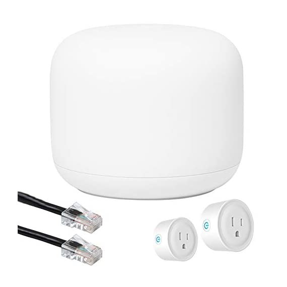 Google Nest Wi-Fi Router - 1-Pack (GA00595-US) with 2-Pack WiFi Smart Plug & Ethernet Cable 1 MEET the NEW NEST WiFi. Smarter Whole Home MESH Coverage   STRONG CONNECTION. EVERY DIRECTION. The Nest Wifi router and point work together to blanket your whole home in fast, reliable Wi-Fi and eliminate buffering in every room Parental permissions let you set schedules to manage screen time, restrict certain kinds of adult content, and pause Wi-Fi to specific devices whenever you want