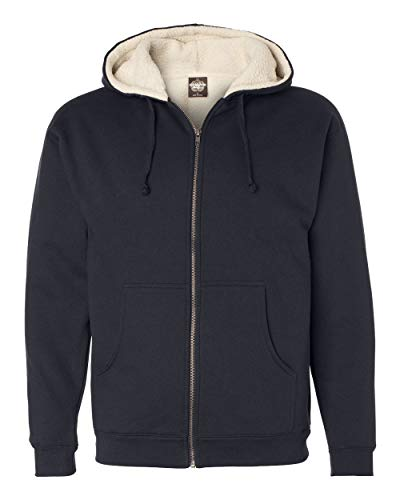 Independent Trading Co. Mens Sherpa Lined Full-Zip Hooded Sweatshirt (EXP40SHZ), Navy/ Natural, XXX-Large