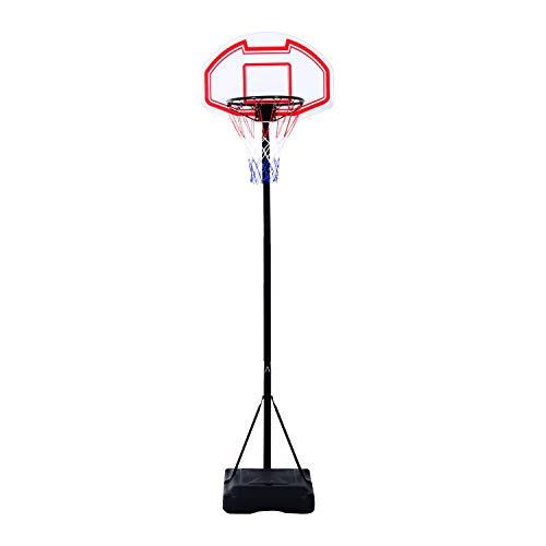 HOMCOM Canasta de Baloncesto Plegable y Ajustable en Altura Basket con Red Canasta de Baloncesto Plegable Altura Ajustable 165-210cm Basket Red y Tablero