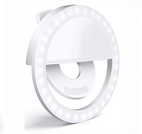 ICETEK Selfie Licht Ringleuchte Handy Tablet Universell Ringlicht Dimmbar 3 Stufen Wiederaufladbar
