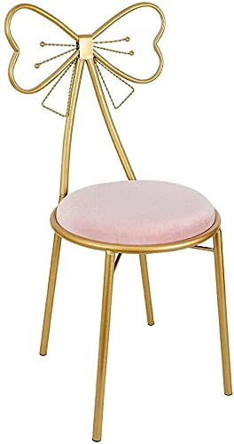 MZIKO Taburete de Hierro de Oro de Estilo Moderno, Arco Simple de Mariposa con Respaldo de Altura de la Silla de la Barra Taburete Terciopelo Cojín Cafetería Maquillaje Silla de Ocio (Color : Pink)