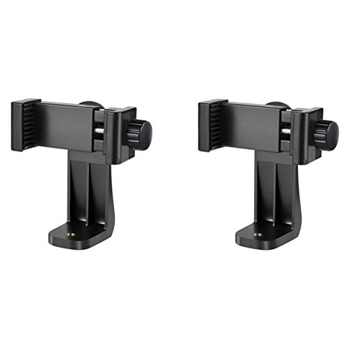 2PCS Cell Phone Tripod Mount Adapter – Universal Smartphone Tripod Mount Holder with Adjustable Clamp, Rotatable Bracket, Compatible with iPhone, Samsung, All Phones, Selfie Stick, Camcorder, Monopod