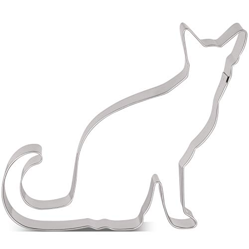 LILIAO Sitting Cat Cookie Cutter - 4.4 x 4.1 inches - Stainless Steel