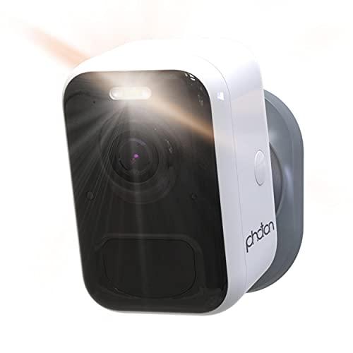 PHOTON Cámara de vigilancia WiFi Exterior, 100% inalámbrica, batería TSLA 6 Meses, detecta Personas y Mascotas, almacena Gratis en la Nube, proyector, Sirena, visión Nocturna, 1080p, estanca, Audio