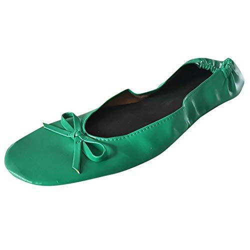 AIni Damen Schuhe Beiläufiges Mode Elegant Sommer Strand Partyschuhe Freizeitschuhe Faltbare Tragbare Reise Ballett Flache Rollenhefterzufuhr Schuh Tanzparty Schuhe(XL,Grün)