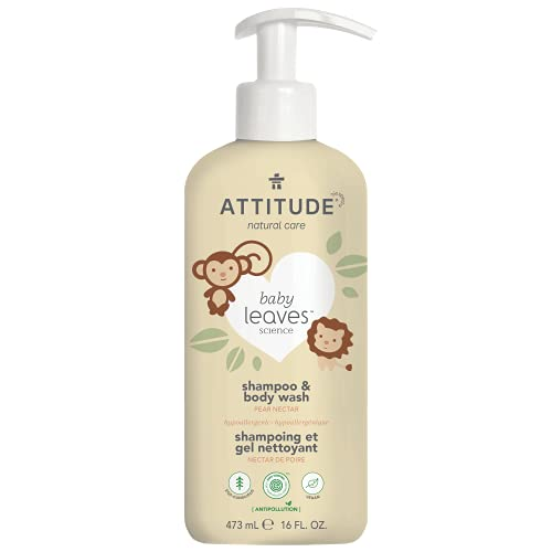 ATTITUDE 2-in-1 Shampoo and Body Wash for Baby, EWG Hypoallergenic Plant- and Mineral-Based Ingredients, Vegan and Cruelty-Free, Pear Nectar, 16 Fl Oz