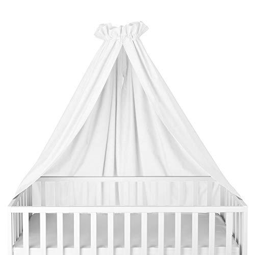 Sugarapple Himmel für Kinderbetten, Babybetten seitlich, quer verwendbar, Uni weiß, 100{d78a9387225926251be649117517fb4ec3e638cf20960e7263b514ccc03e7685} Öko-Tex Baumwolle, 280x170 (BxH) cm