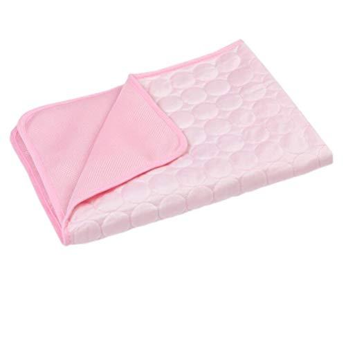 H-ei Perro de refrigeración Colchón, Mascotas de Seda del Hielo Mat, Transpirable de Coches Cojín, Gato Auto Frío Nido (Color : Pink, Size : S)