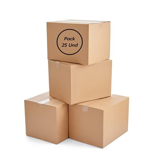 Pack 25 Cajas de Carton de Canal Simple Reforzado para Embalaje 20x15x15cm - Caja con Solapa de Embalaje para Envio y Mudanza - caja para embalar, regalos muy resistentes