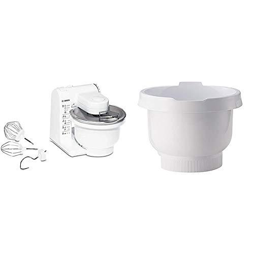 Bosch MUM4 MUM4405 Küchenmaschine (500 W, 3 Rührwerkzeuge aus Edelstahl, spülmaschinengeignet, große Rührschüssel 3,9 Liter, max. Teigmenge: 2,0kg, 4 Schaltstufen) weiß & MUZ4KR3 Rührschüssel weiss