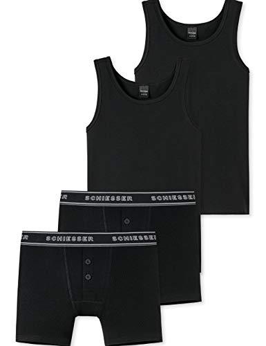 Schiesser Jungen Teens - großes Unterwäsche Set Unterhemd + Shorts aus der Serie Basic 95/5 Doppelripp Schwarz(152)