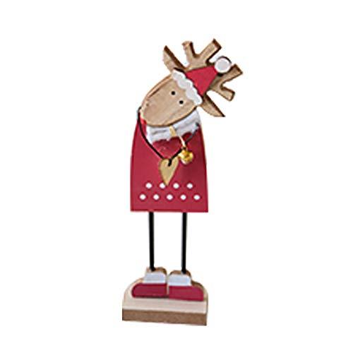 Gespout Décoration de Noël Décoration de Bureau de Wapiti de Noël Petits Ornements de Bureau de Noël Intérieur Maison Salon Fête Parfaite Décoration Cadeau de Noel pour Enfants size 23*6.5*5cm (Rouge)