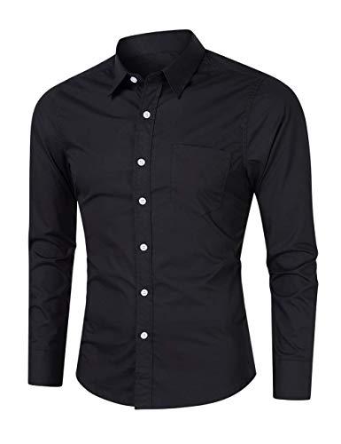 Gdtime Camisa de Manga Larga para Hombre, 100% Algodón, Estilo Informal,Color Sólido Clásico, Business Vestir De Negocios (Negro, XXL)