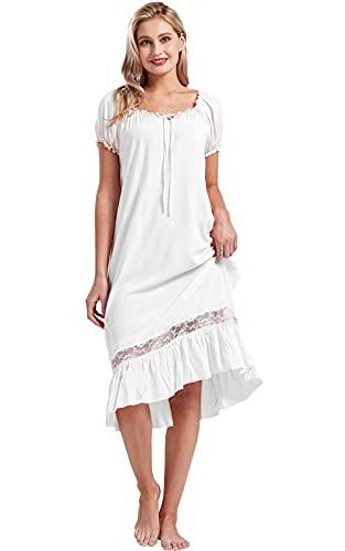 Nanxson Damen Nachthemd Kurzarm Nachtwäsche Sommer Spitze Vintage Nachtkleid Schlafanzüge (S, Weiß)