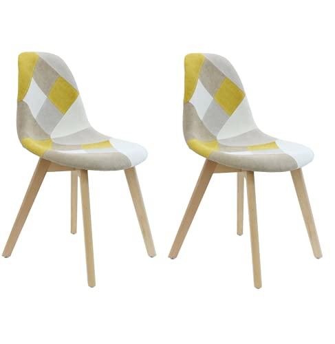 Cmp-Paris Patchwork - Juego de 2 sillas, Color Amarillo