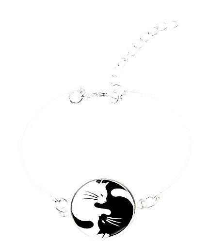 Vrouwelijke armband - vrouw - tao - yin yang - stijf - armband - katten - zwart - wit - zilver - origineel geschenkidee bangle