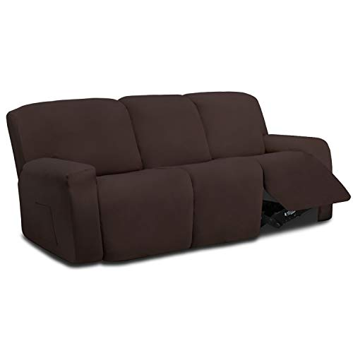 Easy-Going 8 Pieces Microfiber Stretch Sectional Recliner Sofa Slipcover Soft Fitted Fleece 3 Seats Couch Cover, Washable Furniture Protector with Elasticity for Kids,Pet (Recliner Sofa,Chocolate