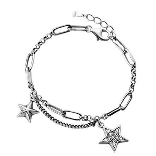 NDASNDIASND Vintage Star Bracelet Female Birthday Accessories Silver 925 Sterling Bangle Girl Jewelry Silver Charm Lady Bijou