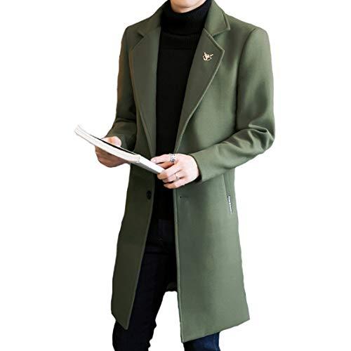 JHIJSC コート ロング メンズ ジャケット チェスターコート ビジネス シンプル 秋冬 無地 防寒 大きいサイズ (グリーン, M)