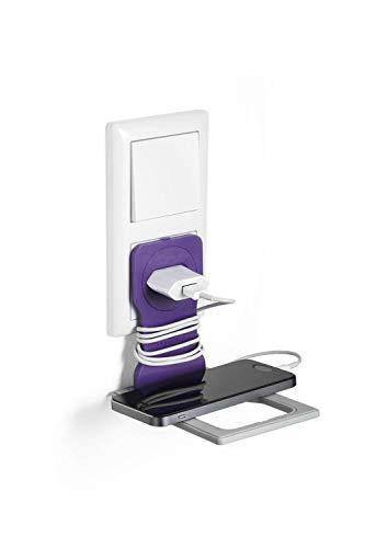 Durable 773512 Varicolor Handy Ladehalter für die Steckdose, rutschfest & zusammenklappbar, lila